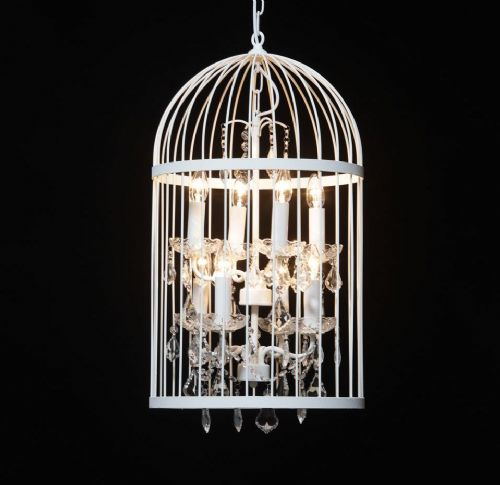 Bird Cage Chandelier in Crackle White Medium